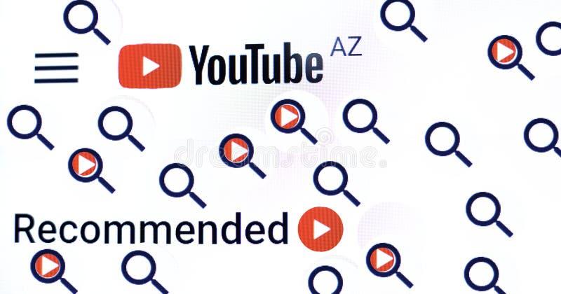 Киев Украина 04 26 2019: Логотип Youtube, видео Youtube товарного знака видео- хозяйничая Насладитесь видео и музыкой o стоковые изображения rf