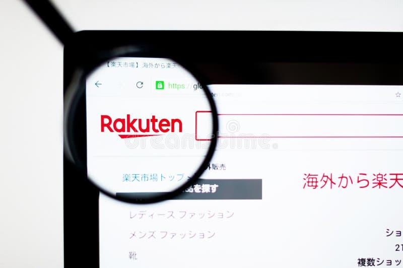 Киев, Украина - 6-ое апреля 2019: Домашняя страница вебсайта Rakuten Японские электронная коммерция и компания интернета основанн иллюстрация штока