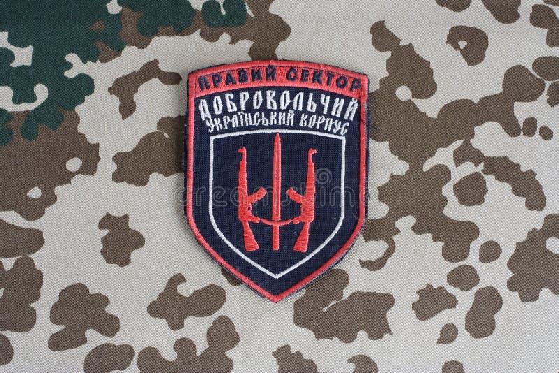 КИЕВ, УКРАИНА - 8-ое июля 2015 Шеврон украинца вызывается добровольцем корпус стоковые фотографии rf