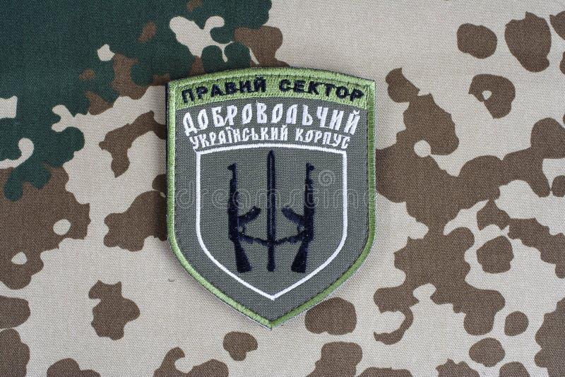 КИЕВ, УКРАИНА - 8-ое июля 2015 Шеврон украинца вызывается добровольцем корпус стоковое изображение