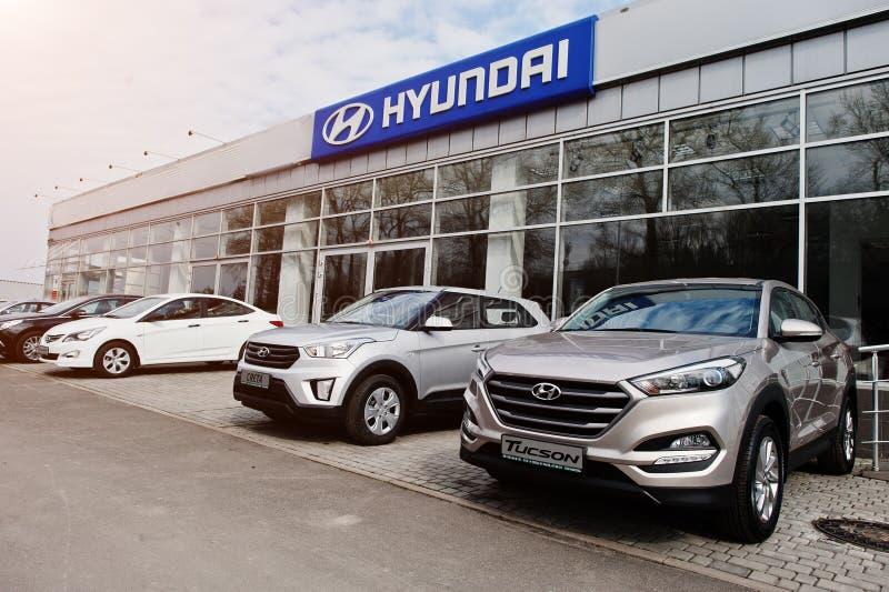 Киев, Украина - 22-ое марта 2017: Новый Hyundai Tucson, Creta, Accen стоковое изображение