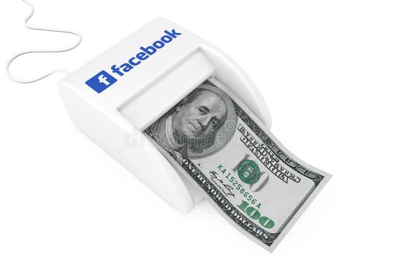 КИЕВ, УКРАИНА - 17-ое мая: Заработайте деньги с концепцией Facebook Машина Facebook создателя денег с банкнотой долларов r стоковое изображение rf