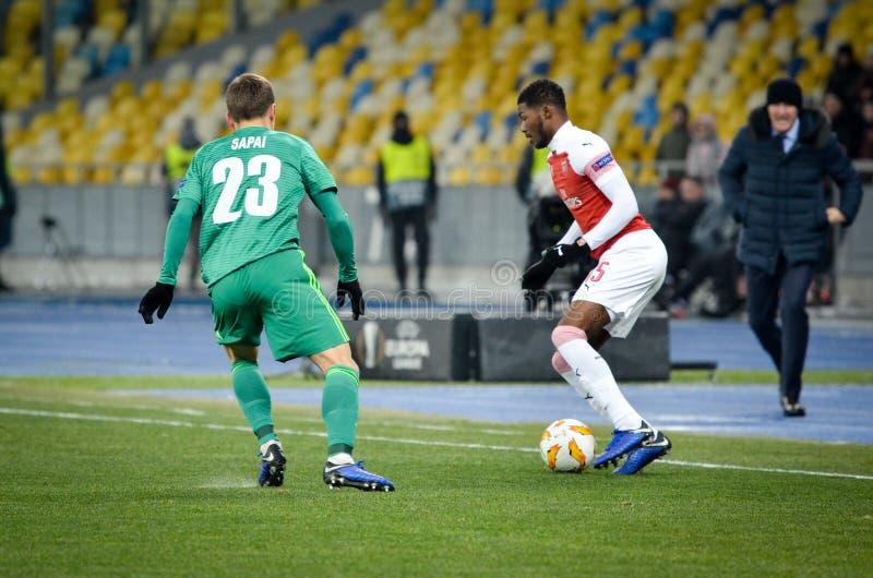 КИЕВ, УКРАИНА - 29-ое ноября 2018: Ainsley Maitland-Niles во время матча лиги Европы UEFA между Vorskla Полтавой против FC стоковое изображение