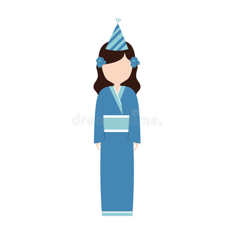 кимоно воплощения аниме имеет партию иллюстрация вектора