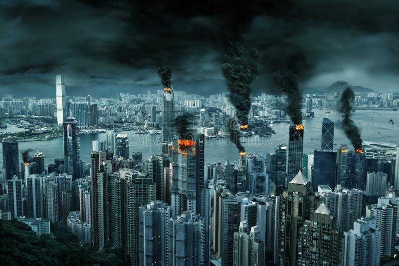 Кинематографическое изображение города Гонконга в хаосе бесплатная иллюстрация