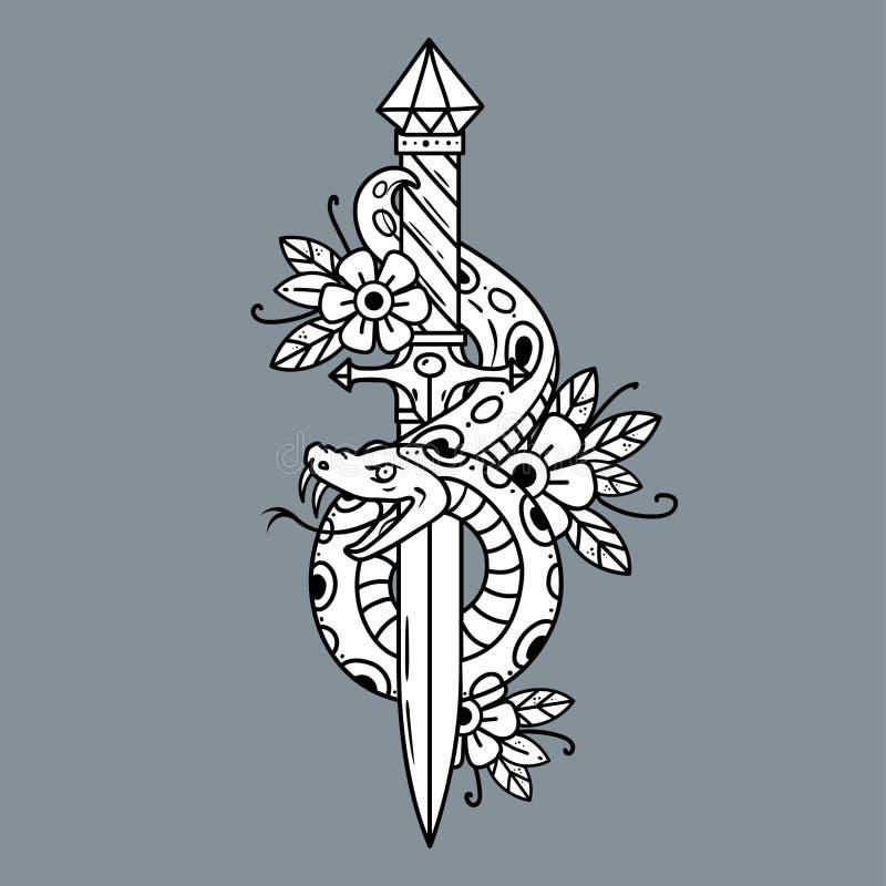 Кинжал татуировки вектора с змейкой старая школа иллюстрация вектора