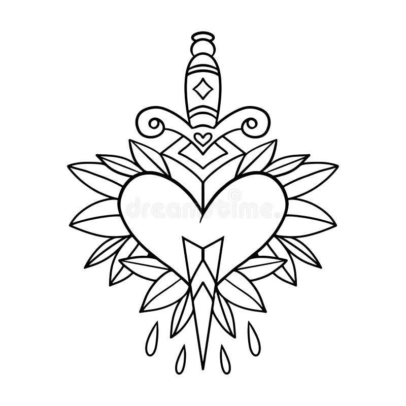 Кинжал татуировки стиля старой школы через сердце с зелеными листьями на заднем плане editable иллюстрация штока