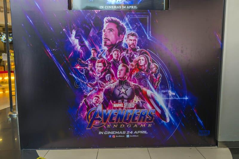 Киноафиша эндшпиля мстителей, американский фильм супергероя 2019 основанный на команде супергероя комиксов чуда стоковые фотографии rf