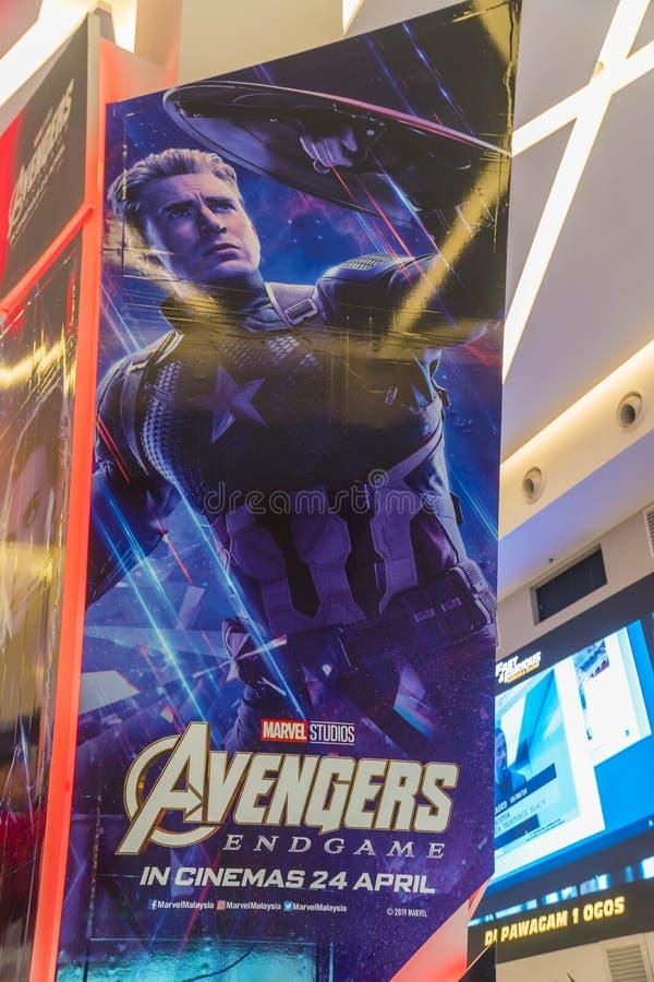Киноафиша эндшпиля мстителей, американский фильм супергероя 2019 основанный на команде супергероя комиксов чуда стоковая фотография