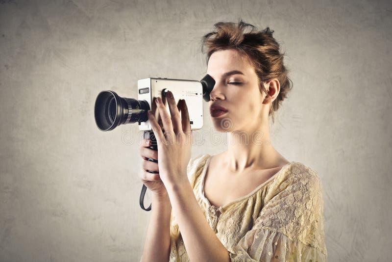 Киносъемка женщины стоковое фото