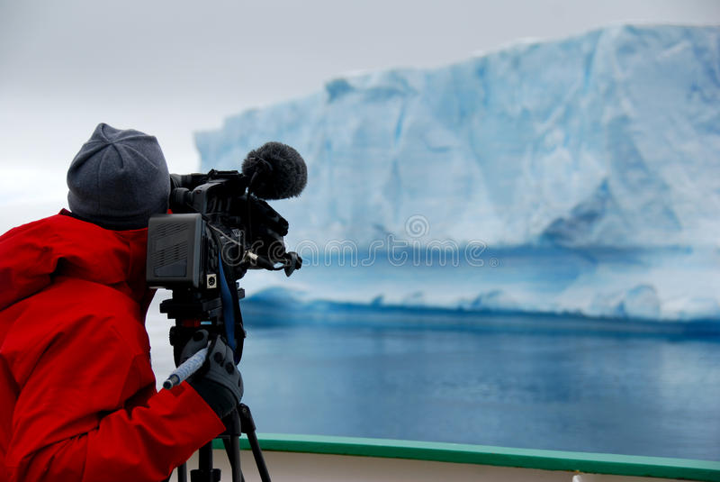 Киносъемка оператора в Антарктике стоковое изображение rf