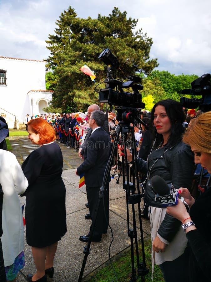 Киносъемка оператора на день монархии на дворце Elisabeta стоковая фотография rf