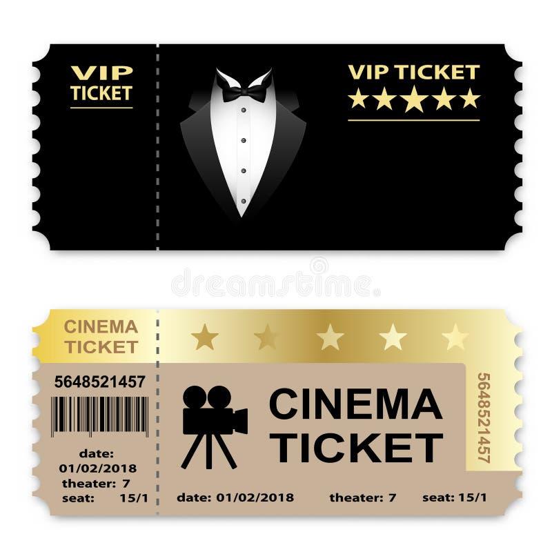 Кино, билеты vip дела изолированные на белой предпосылке Значок талона иллюстрация вектора