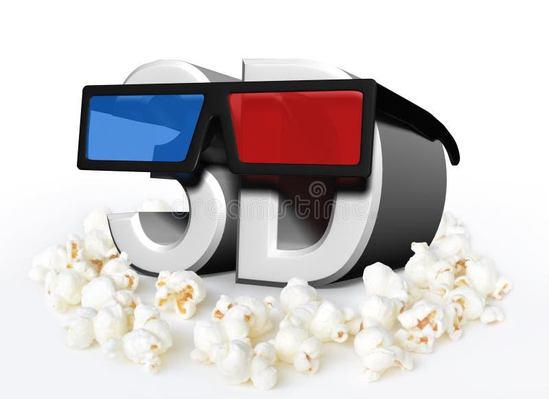 Кино и концепция кино с стеклами 3D и попкорном иллюстрация штока