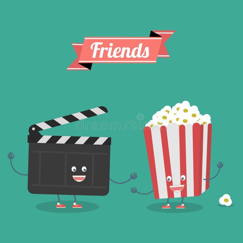 Кино и друзья попкорна навсегда Шарж вектора Кино, кино Быстро-приготовленное питание бесплатная иллюстрация