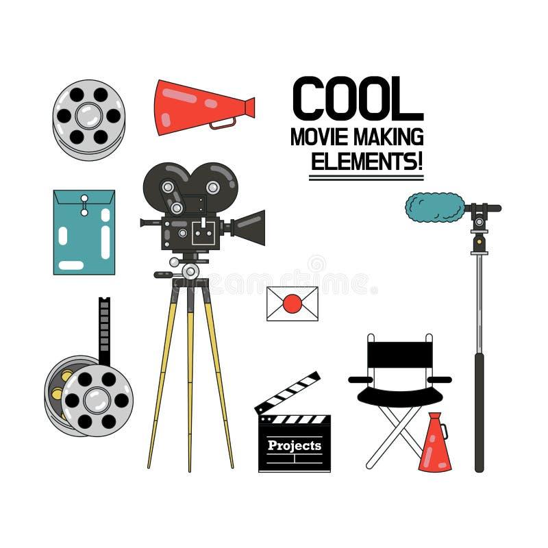 Кино, комплект значка иллюстрации вектора создания фильма иллюстрация вектора