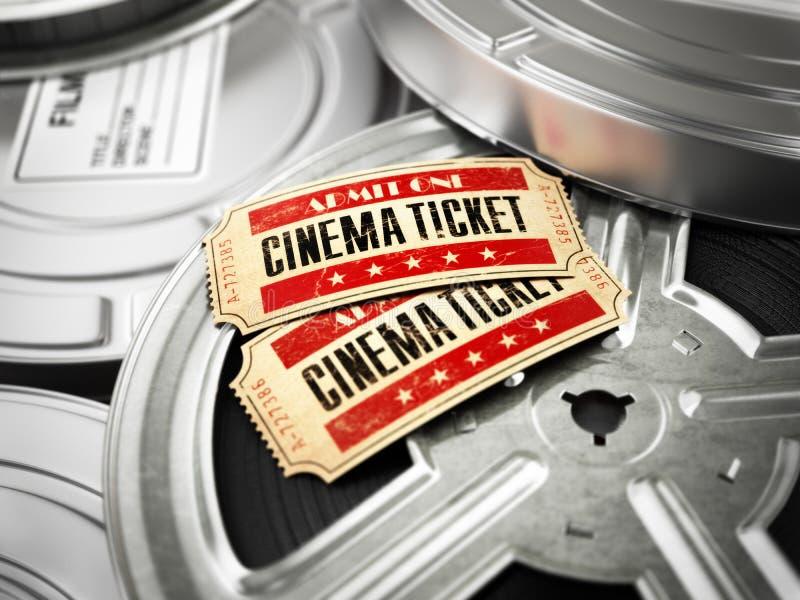 Кино, концепция года сбора винограда кино Билеты на ретро вьюрках фильма и b иллюстрация вектора