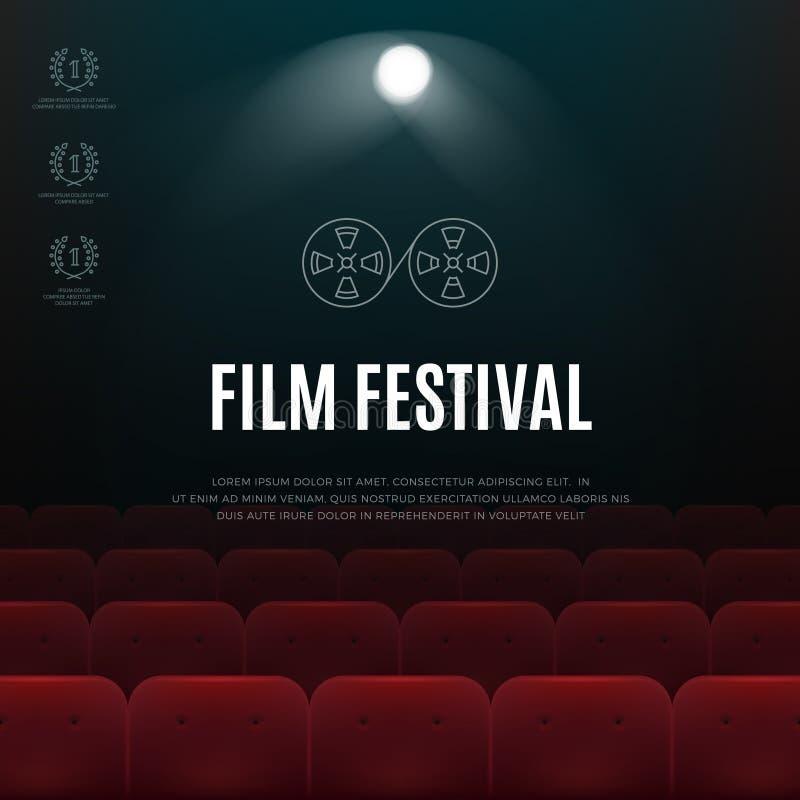 Кино, плакат конспекта вектора фестиваля фильмов, предпосылка иллюстрация вектора