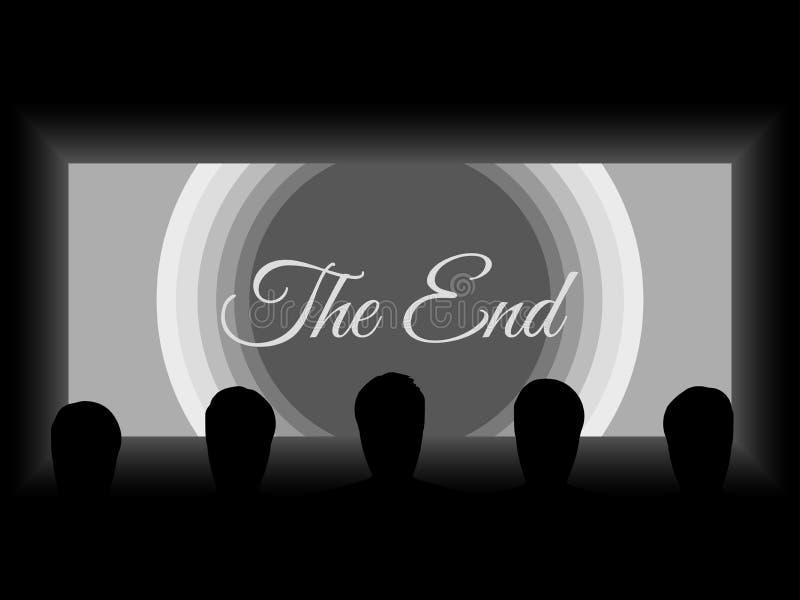 Кино, свет театра от экрана Тени людей на экране предпосылки Взгляд от задней строки кино бесплатная иллюстрация