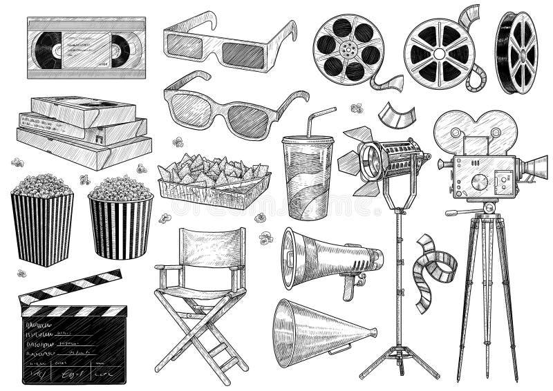 Кино, фильм, иллюстрация собрания, чертеж, гравировка, чернила, линия искусство, вектор иллюстрация вектора