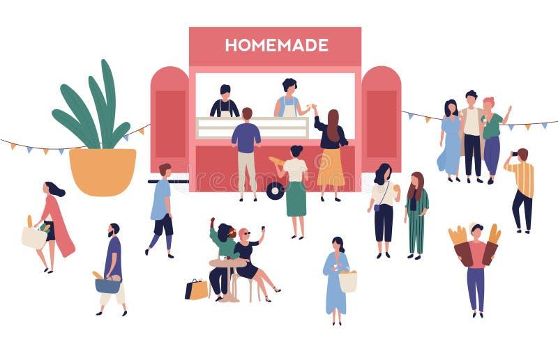 Киоск или стойл с вкусными домодельными едами, прелестными людьми покупая и продавая еду улицы на на открытом воздухе фестивале,  иллюстрация штока