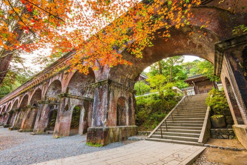 Киото, Япония на мост-водоводе виска Nanzenji стоковые фотографии rf