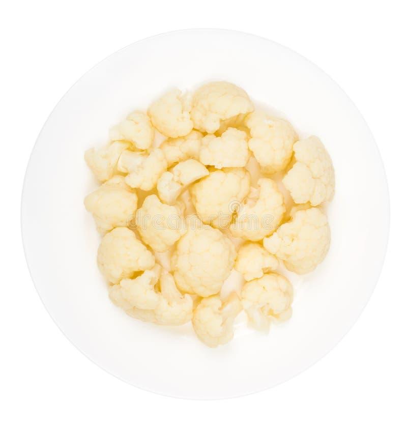 Кипеть цветная капуста для вегетарианской и диетической еды стоковая фотография