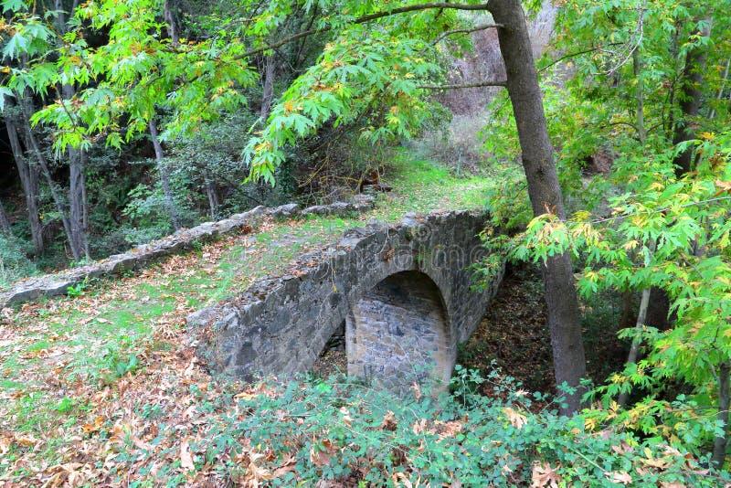 КИПР: Старый венецианский мост около деревни Tres Elies в горах Troodos стоковые изображения