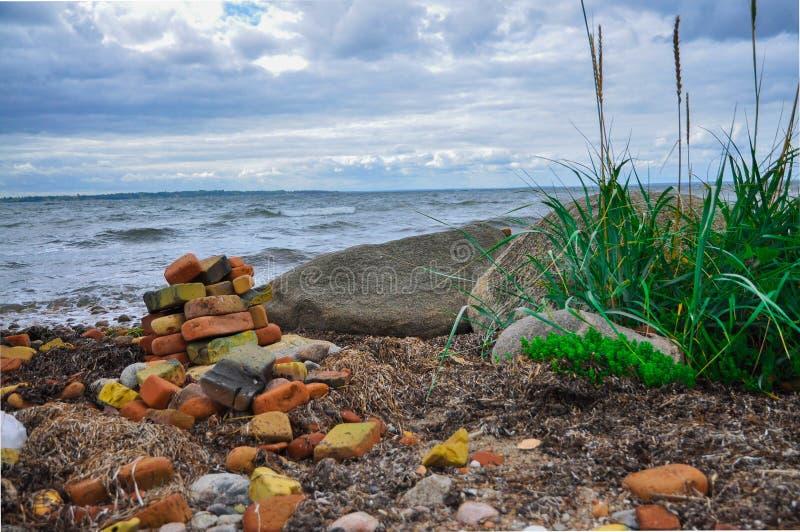 Кирпичи и трава океаном стоковая фотография