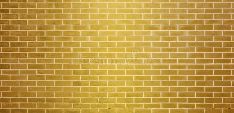 Кирпичная стена, золотая желтая предпосылка текстуры стены кирпичей для графического дизайна иллюстрация штока