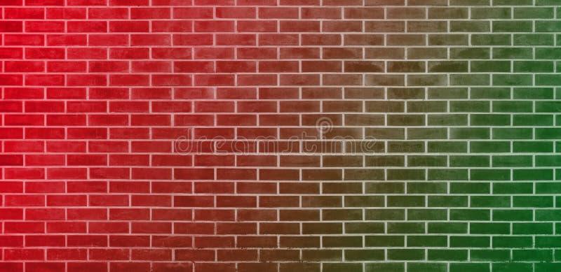 Кирпичная стена, красная зеленая предпосылка текстуры стены кирпичей для графического дизайна иллюстрация вектора