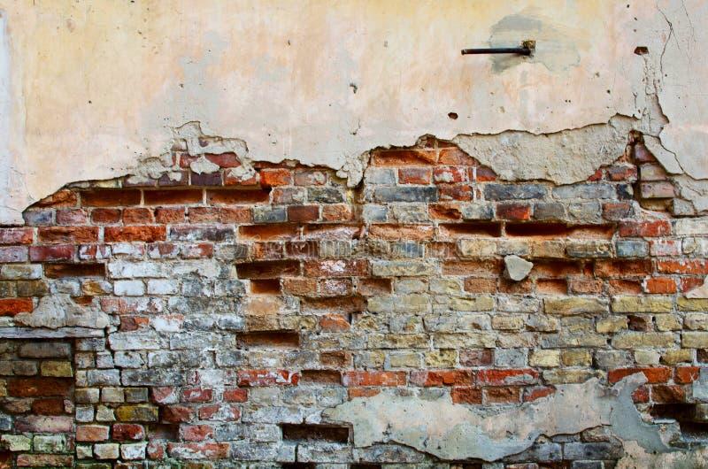 Кирпичная стена с треснутым гипсолитом стоковые изображения