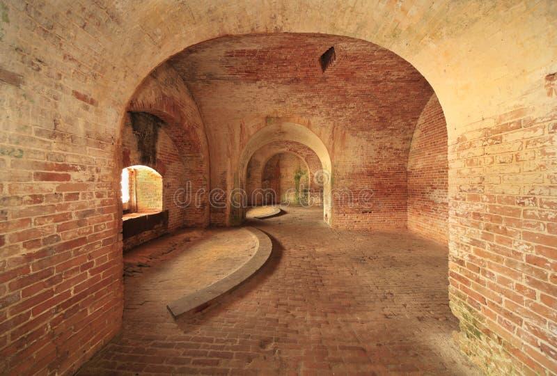 Кирпичные стены и своды американского построенного форта  стоковое фото rf