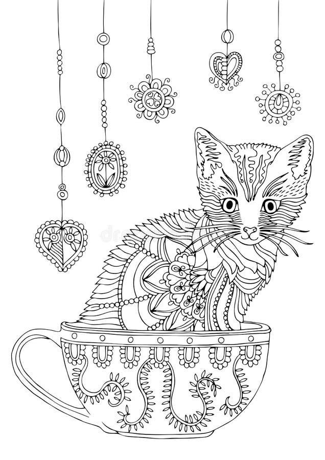 Киска в чашке с гирляндой рука нарисованная котом Эскиз для страницы расцветки анти--стресса иллюстрация вектора