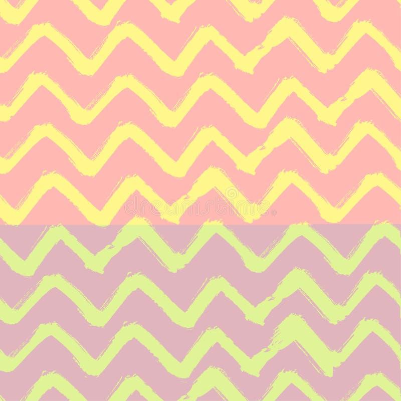 Кисть зигзага Шеврона штрихует безшовную картину Предпосылка абстрактного Grunge вектора розовая и желтая бесплатная иллюстрация