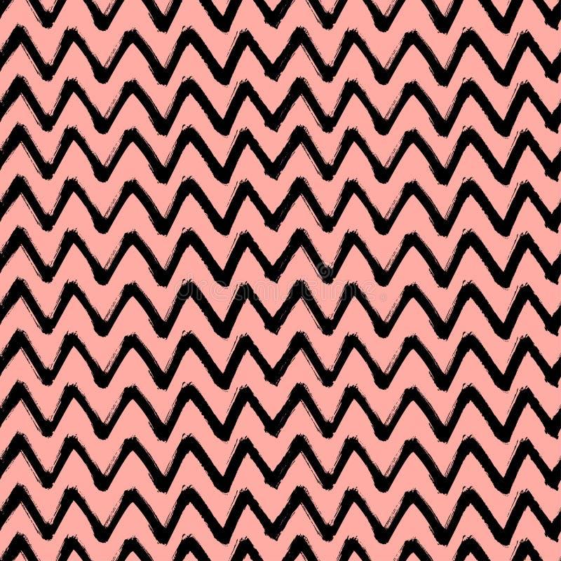 Кисть зигзага Шеврона штрихует безшовную картину Предпосылка абстрактного Grunge вектора черная и розовая иллюстрация штока