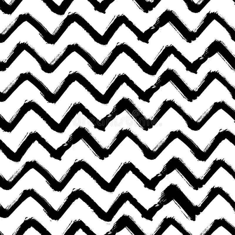 Кисть зигзага Шеврона штрихует безшовную картину Предпосылка зигзага абстрактного Grunge вектора черно-белая иллюстрация штока