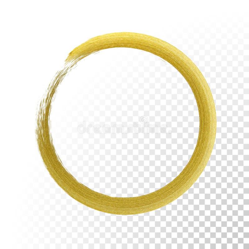 Кисть текстуры яркого блеска круга золота на предпосылке вектора прозрачной иллюстрация штока
