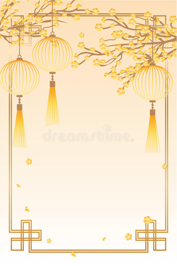 Китайская вертикальная рамка апельсина фонарика птицы цветка иллюстрация штока