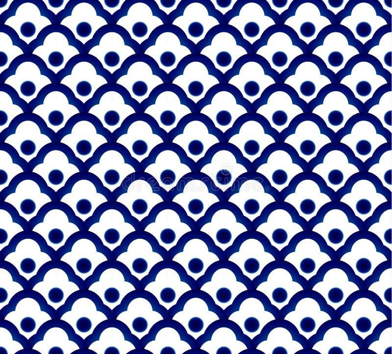 Китайская голубая картина иллюстрация вектора