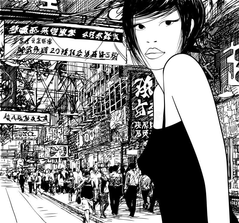 Китайская девушка в Hong Kong бесплатная иллюстрация