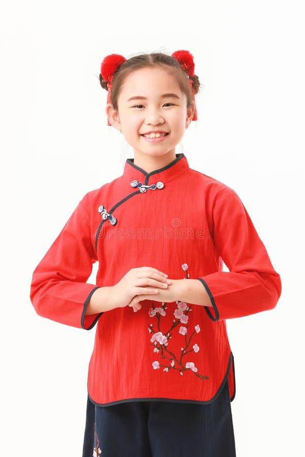 Китайская девушка на белой предпосылке стоковое фото rf