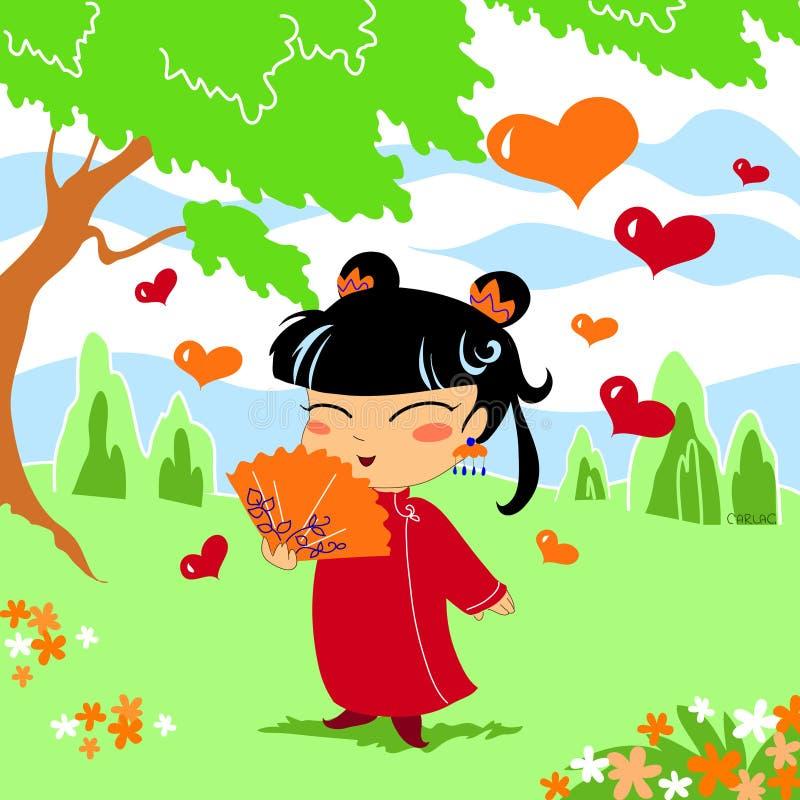 китайская девушка немногая иллюстрация штока