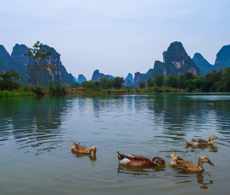 Китайская деревня, ландшафт горы Karst стоковая фотография