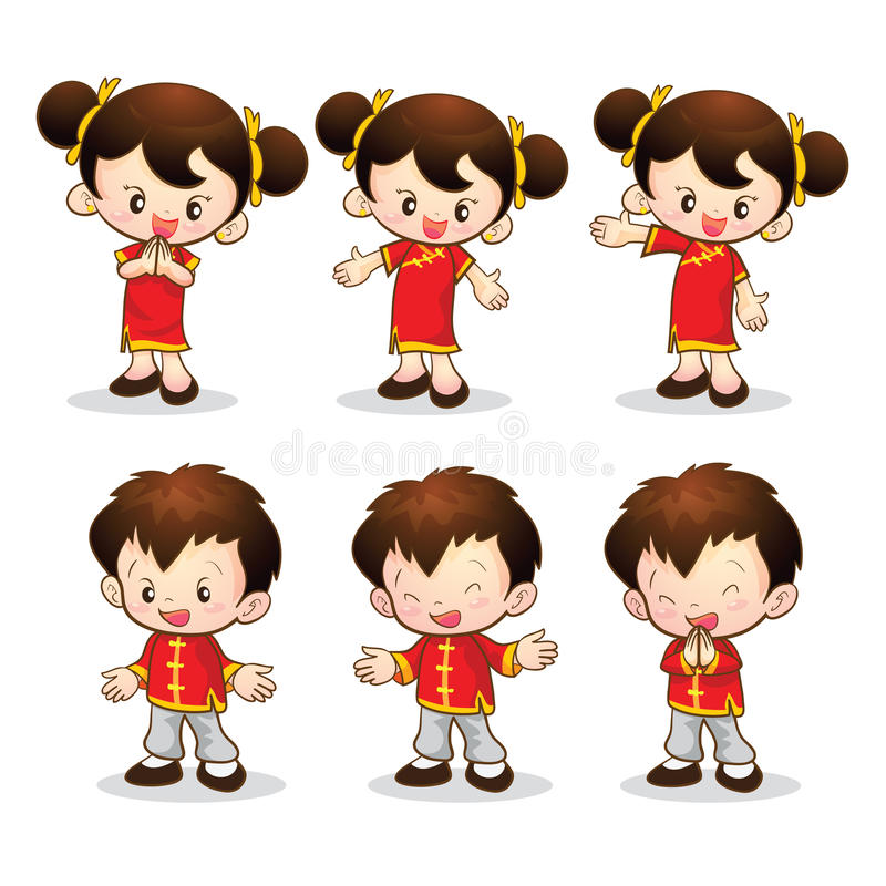 Китайская девушка мальчика иллюстрация вектора