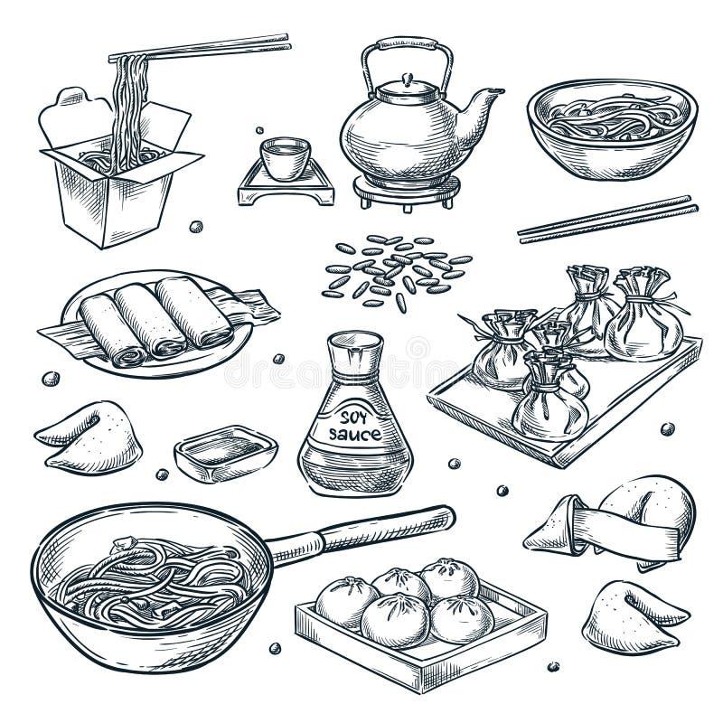 Китайская еда, иллюстрация эскиза вектора Установите изолированного фарфора руки вычерченного, азиатской еды Элементы дизайна мен иллюстрация вектора