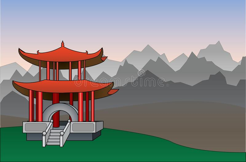 Китайская иллюстрация вектора предпосылки пагоды стоковые фото