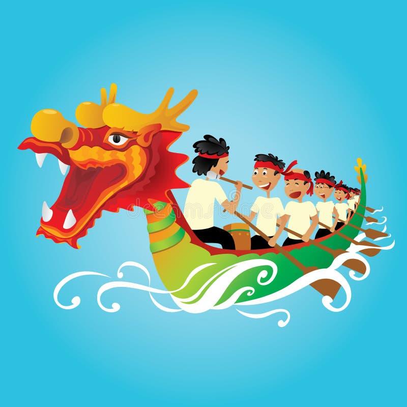 Китайская иллюстрация конкуренции шлюпки дракона иллюстрация штока