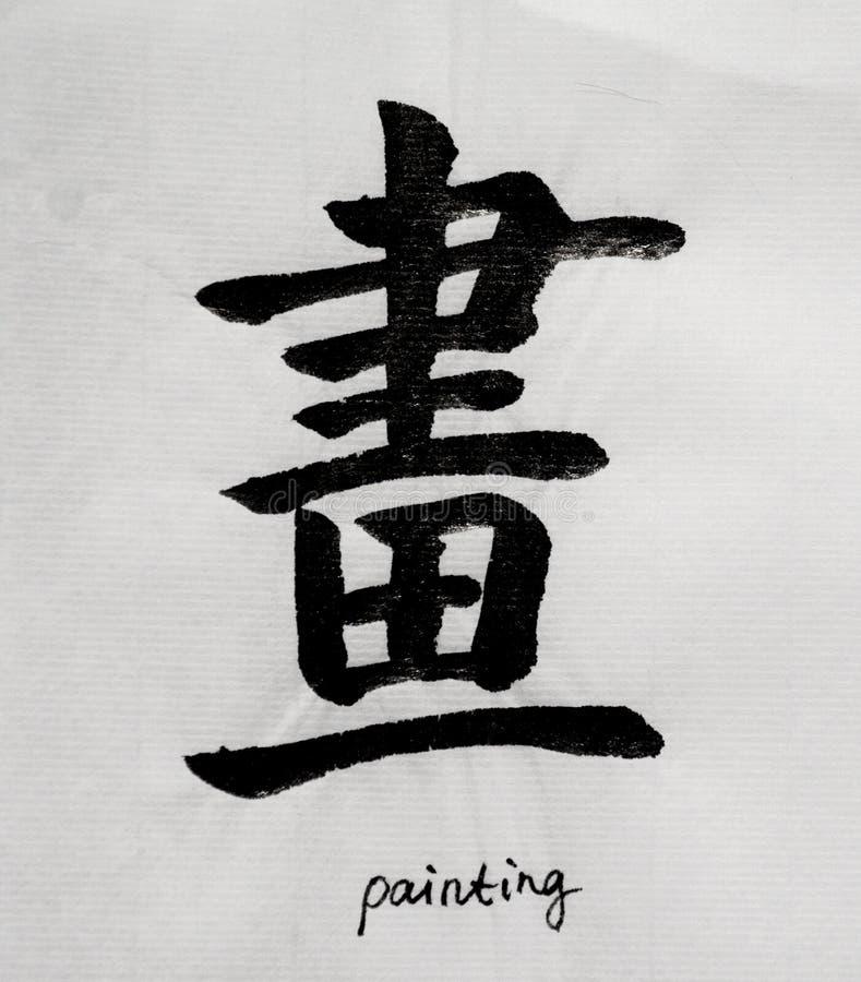 Китайская каллиграфия значит ` картины ` для Tatoo стоковое изображение