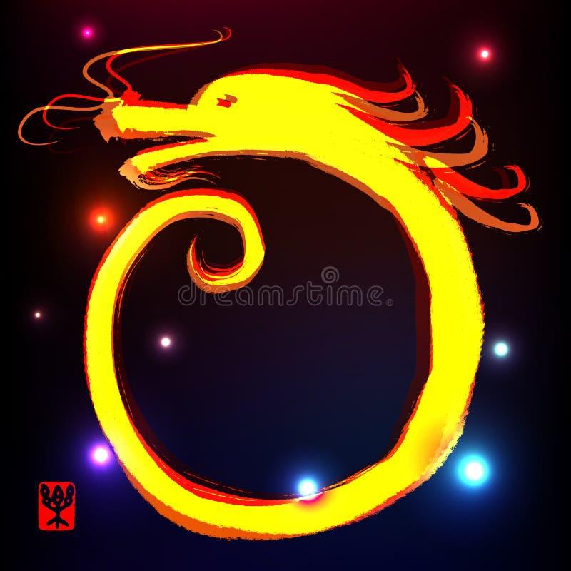 китайская картина чернил дракона иллюстрация вектора